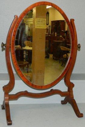 Oval Inlaid Hepplewhite Mahog. Dressing Mirror.