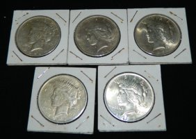 Lot Of 5 Silver Peace Dollars