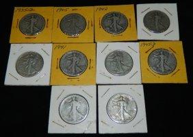 10 Walking Liberty Half Dollars