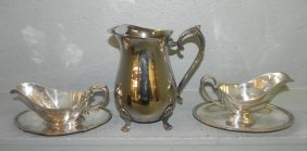 S.p. Footed Pitcher, 2 Gravy Boats.