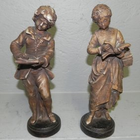 Ceramic Figures Of Boy And Girl.