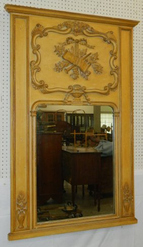 French Carved Frame Trumeau Mirror
