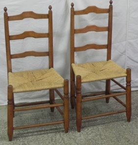 Pr. Early Shaker Tiger Maple Ladder Back Chairs