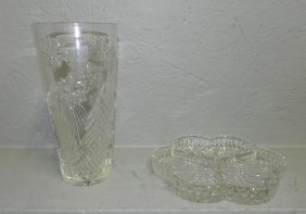 Waterford Vase (snowflaked Pattern) & Divided Dish.