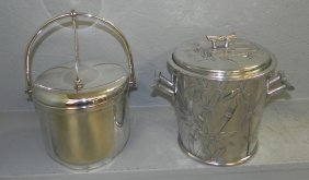 "2 Silver Plate Ice Buckets. 9 1/2"" To 11 3/4""tall."