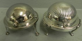 "2 Oval Silver Plate Butter Dishes. 4 1/2"" Tall."