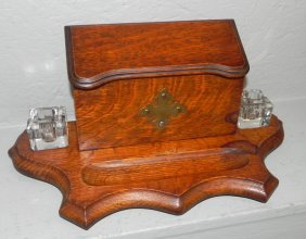 """English Oak Inkwell With Letter Box. 7"""" X 15""""."""