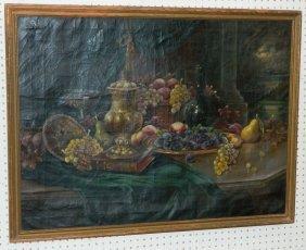 Still Life Oil On Canvas Signed Mathilde Winker.