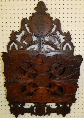 Walnut Victorian Wall Pocket.