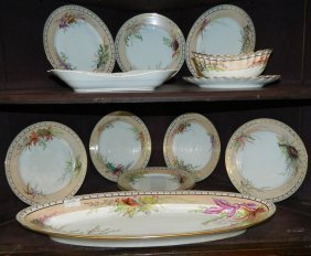 12 Pc. Hand Painted Limoges Fish Set.