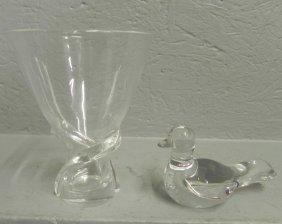 Baccarat Dove And Steuben Vase.