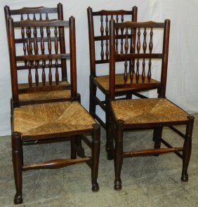 4 19th C. Rush Seat English Queen Anne Chairs.