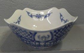 """Blue And White Oriental Bowl. 9 5/8"""" Dia."""