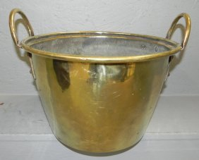 Early 2 Handle Dovetailed Brass Jelly Bucket.