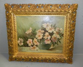 19th C Beautifully Framed Still Life Oil On Canvas.