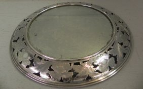 """Sterling Mirrored Plateau By Durgin. 14"""" Diameter."""