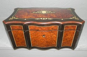 19th C. Burl Walnut Inlaid Tea Caddy.