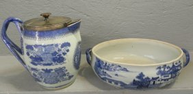 2 Pcs 19th C Chinese Canton Porcelain (1 Is As Is).