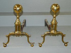 Pair Of 19th C. Brass Cannonball Andirons.