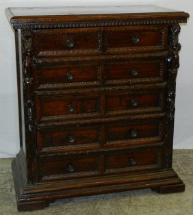 18th C Italian Baroque Walnut Figural Carved Chest.