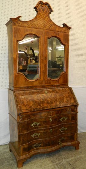 18th C. 2 Piece Italian Burl Walnut Secretary.