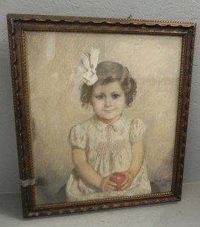 Signed Walsh Tilner 1933 Pastel Of Young Girl