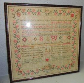 1846 Sampler By Betsy Ann Wheeler.