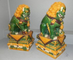 """Pair Of Majolica Foo Dogs/ Lions. 23"""" Tall."""