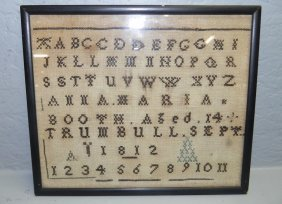 Small Antique Alphabetical Sampler Dated 1812.