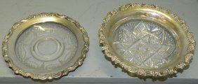 2 Cut Glass Bowls With Gorham Sterling Rims
