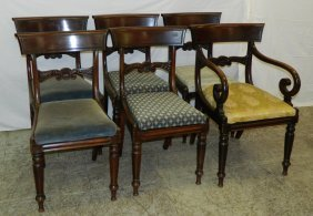 6 English Regency Mahogany Dining Chairs.