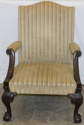 19th Georgian Carved Ball & Claw Foot Library Chair