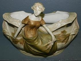 Royal Dux Art Noveau style planter of lady w urn.