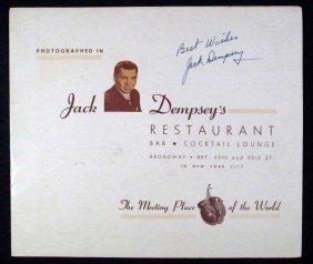 JACK DEMPSEY AUTOGRAPHED MENU FROM JACK DEMPSEY'S
