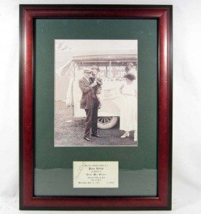 BABE RUTH SIGNATURE W/ PICTURE - FRAMED W/ COA