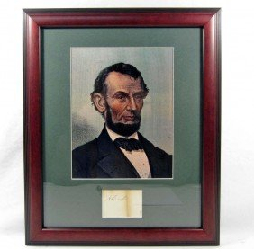 ABRAHAM LINCOLN CUT SIGNATURE W/ PICTURE - FRAMED