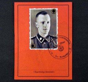 GERMAN NAZI GUARD ID DOCUMENT W/ PHOTO