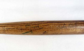 MULTI-SIGNED MINI BASEBALL BAT - TY COBB, BABE RUTH