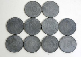 Lot Of 10 Vintage German Nazi Coins