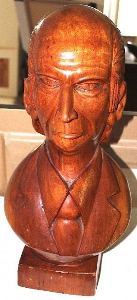 Wooden Carved Bust Of Cap