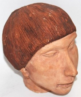 Indian Head Made Of Clay - 8""