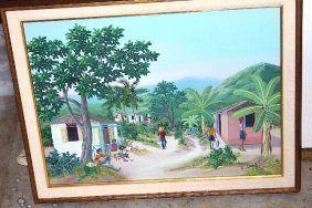 Haitian Painting 23 X 18 By Roland Etienne 1990