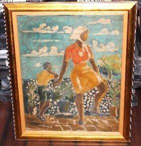 Batik Original 1950's Over Printed With Silk Screened