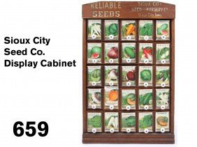 Sioux city seed co display cabinet lot 659 for Craft stores in sioux city iowa