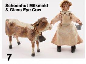 Schoenhut Milkmaid & Glass Eye Cow