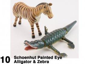 Schoenhut Painted Eye Alligator & Zebra