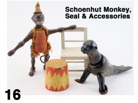 Schoenhut Monkey, Seal & Accessories