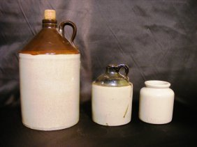 2 19th Century Jugs Along W/ Crock