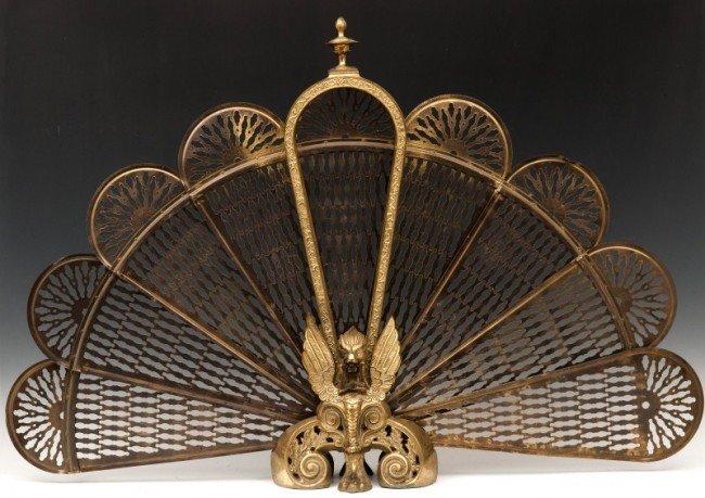 760 Victorian Brass Fan Shaped Fireplace Screen Lot 760
