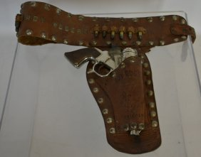 Early Roy Rogers Cap Gun & Leather Holster